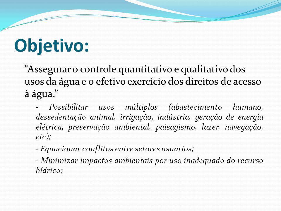 Objetivo: Assegurar o controle quantitativo e qualitativo dos usos da água e o efetivo exercício dos direitos de acesso à água. - Possibilitar usos mú