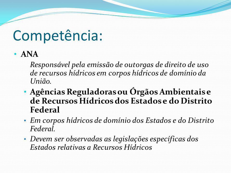 Competência: ANA Responsável pela emissão de outorgas de direito de uso de recursos hídricos em corpos hídricos de domínio da União. Agências Regulado