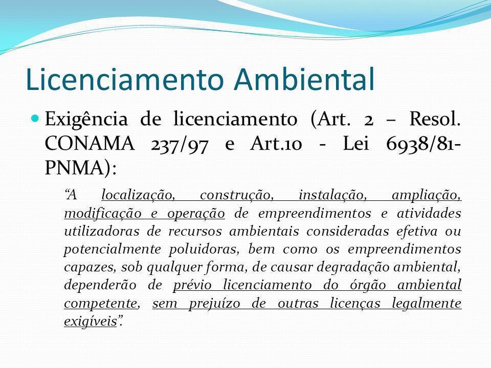 Licenciamento Ambiental Exigência de licenciamento (Art. 2 – Resol. CONAMA 237/97 e Art.10 - Lei 6938/81- PNMA): A localização, construção, instalação