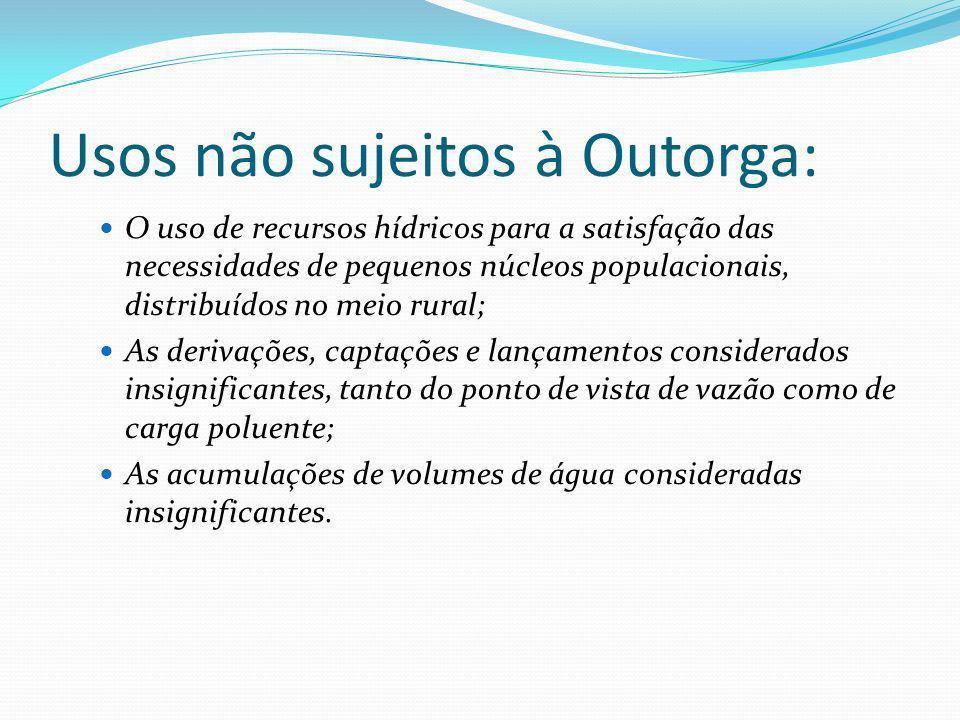 Usos não sujeitos à Outorga: O uso de recursos hídricos para a satisfação das necessidades de pequenos núcleos populacionais, distribuídos no meio rur