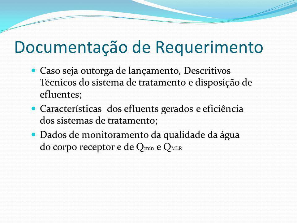 Documentação de Requerimento Caso seja outorga de lançamento, Descritivos Técnicos do sistema de tratamento e disposição de efluentes; Características