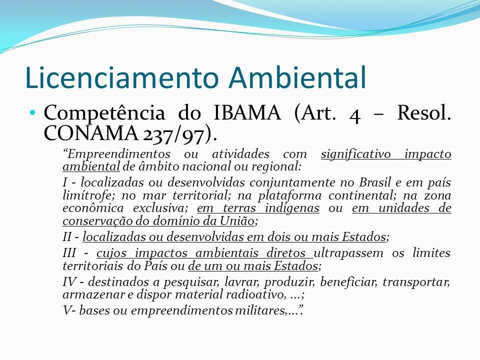 Licenciamento Ambiental Competência do IBAMA (Art. 4 – Resol. CONAMA 237/97). Empreendimentos ou atividades com significativo impacto ambiental de âmb