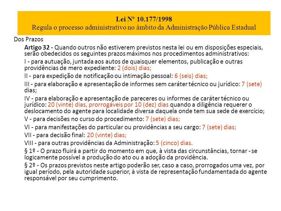 Lei Nº 10.177/1998 Regula o processo administrativo no âmbito da Administração Pública Estadual Dos Prazos Artigo 32 - Quando outros não estiverem pre