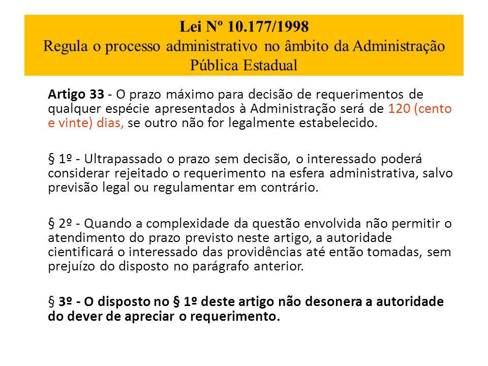 Lei Nº 10.177/1998 Regula o processo administrativo no âmbito da Administração Pública Estadual Artigo 33 - O prazo máximo para decisão de requeriment