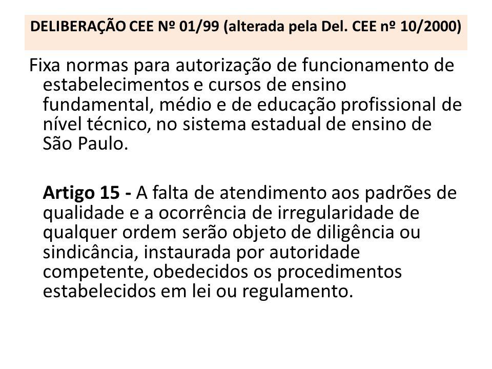 DELIBERAÇÃO CEE Nº 01/99 (alterada pela Del. CEE nº 10/2000) Fixa normas para autorização de funcionamento de estabelecimentos e cursos de ensino fund