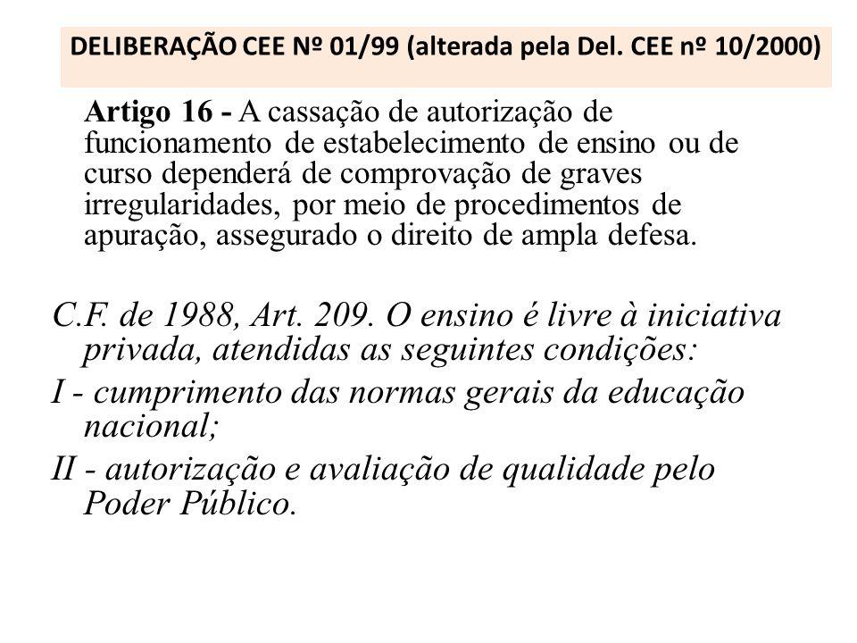DELIBERAÇÃO CEE Nº 01/99 (alterada pela Del. CEE nº 10/2000) Artigo 16 - A cassação de autorização de funcionamento de estabelecimento de ensino ou de