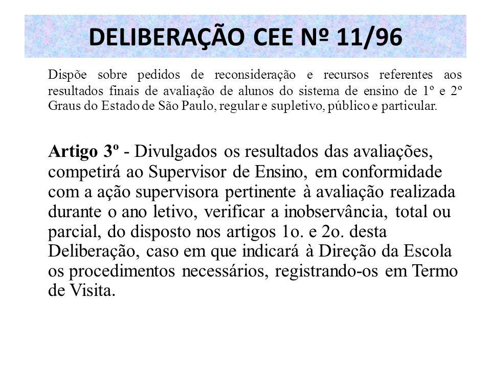 DELIBERAÇÃO CEE Nº 11/96 Dispõe sobre pedidos de reconsideração e recursos referentes aos resultados finais de avaliação de alunos do sistema de ensin