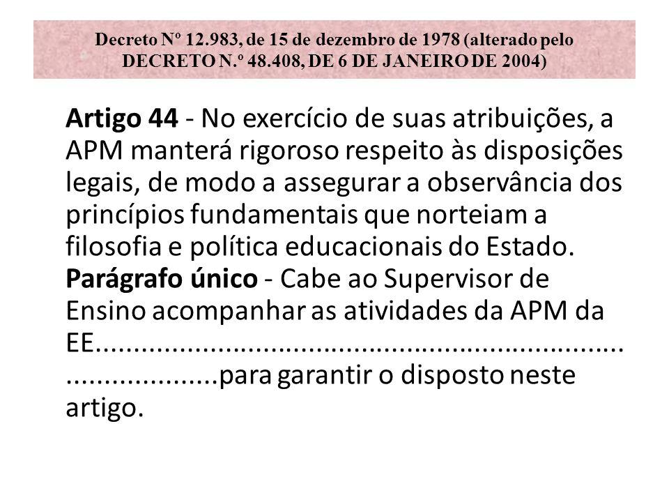 Decreto Nº 12.983, de 15 de dezembro de 1978 (alterado pelo DECRETO N.º 48.408, DE 6 DE JANEIRO DE 2004) Artigo 44 - No exercício de suas atribuições,