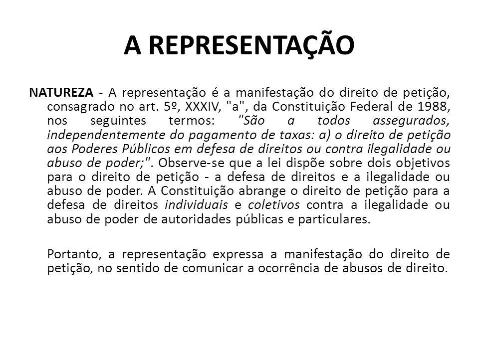 Representação/ Petição O direito de petição é confirmado na CONSTITUIÇÃO DO ESTADO DE SÃO PAULO de 1989 em seu Artigo 164 - É vedada a cobrança de taxas: I - pelo exercício do direito de petição ao Poder Público em defesa de direitos ou contra ilegalidade ou abuso de poder; A representação/petição pode ser identificada, tanto de modo expresso, quanto inferido nos ordenamentos legais de âmbito jurídico estadual, a saber, por exemplo: