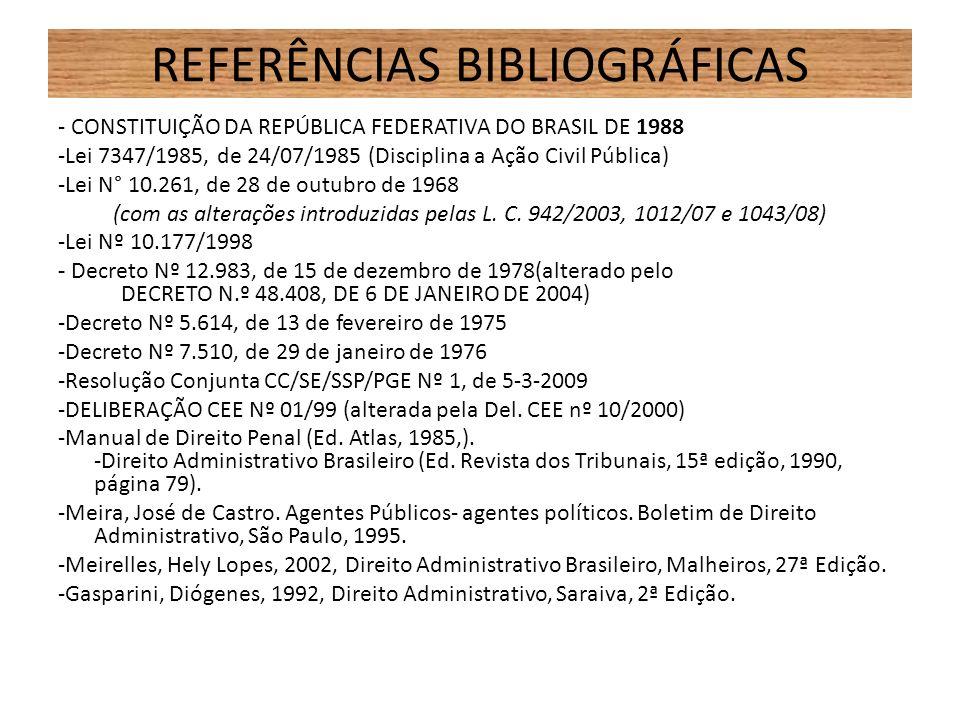 REFERÊNCIAS BIBLIOGRÁFICAS - CONSTITUIÇÃO DA REPÚBLICA FEDERATIVA DO BRASIL DE 1988 -Lei 7347/1985, de 24/07/1985 (Disciplina a Ação Civil Pública) -L