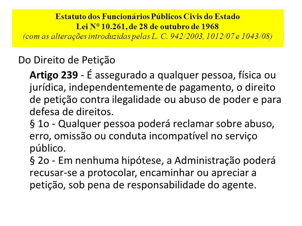 Estatuto dos Funcionários Públicos Civis do Estado Lei N° 10.261, de 28 de outubro de 1968 (com as alterações introduzidas pelas L.