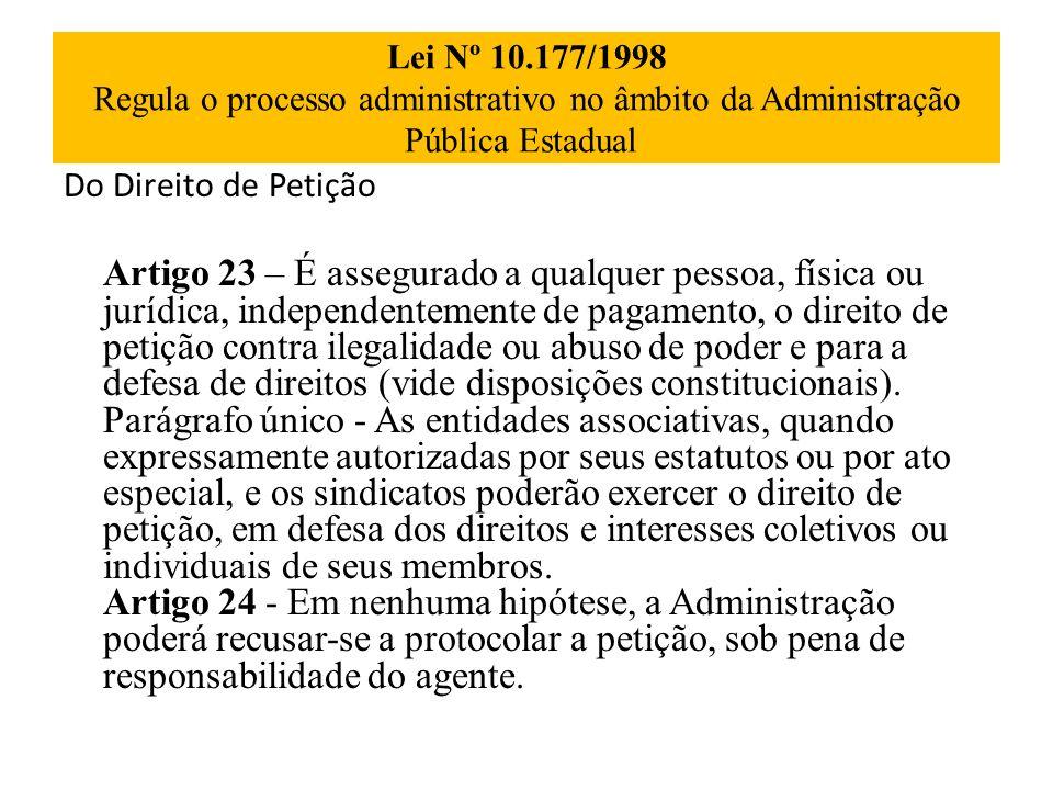 Lei Nº 10.177/1998 Regula o processo administrativo no âmbito da Administração Pública Estadual Do Direito de Petição Artigo 23 – É assegurado a qualq