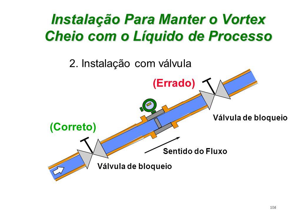 106 2. Instalação com válvula (Correto) (Errado) Válvula de bloqueio Sentido do Fluxo Válvula de bloqueio Instalação Para Manter o Vortex Cheio com o