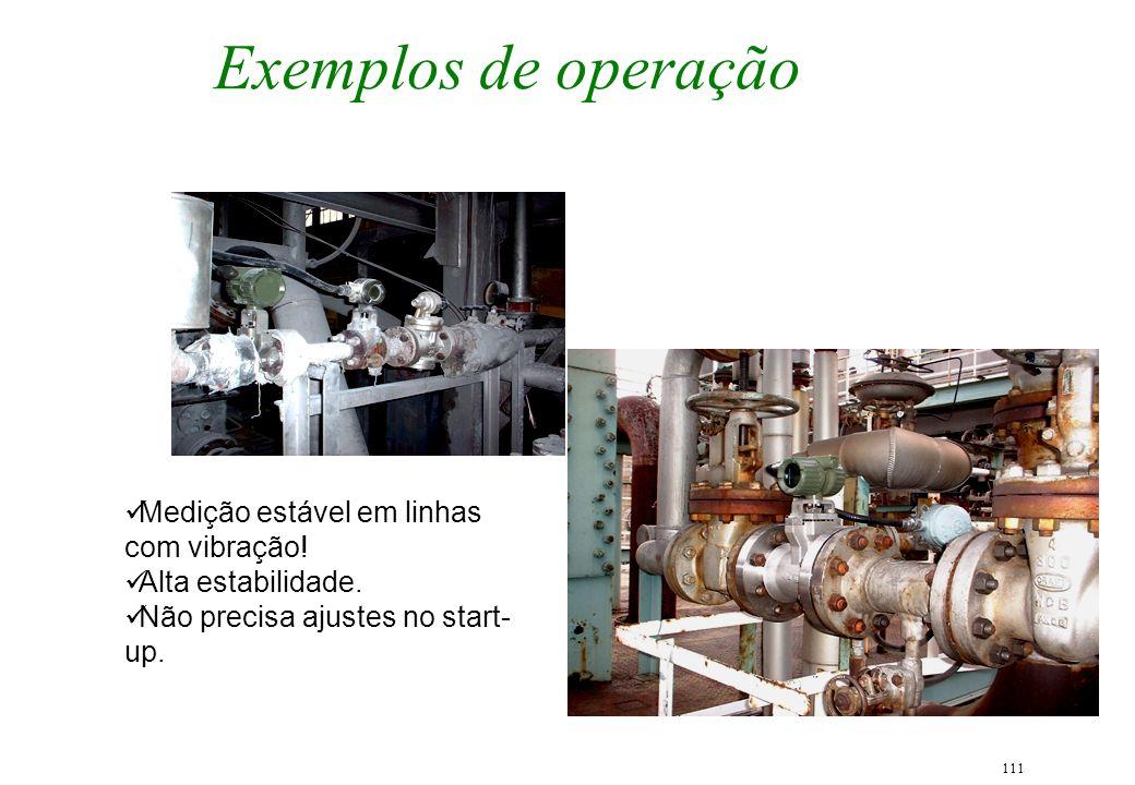 111 Exemplos de operação Medição estável em linhas com vibração! Alta estabilidade. Não precisa ajustes no start- up.