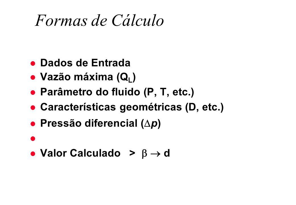 Formas de Cálculo l Dados de Entrada l Vazão máxima (Q L ) l Parâmetro do fluido (P, T, etc.) l Características geométricas (D, etc.) l Pressão difere
