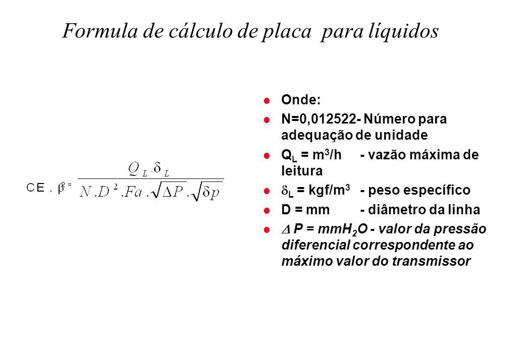 Formula de cálculo de placa para líquidos l Onde: l N=0,012522- Número para adequação de unidade l Q L = m 3 /h - vazão máxima de leitura l L = kgf/m