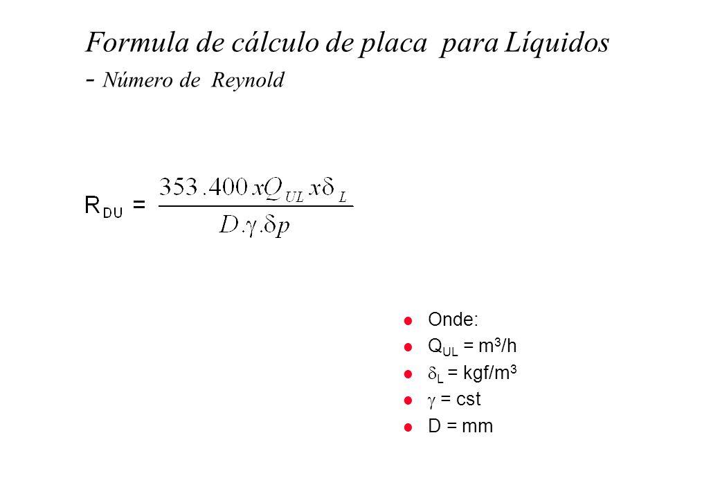 Formula de cálculo de placa para Líquidos - Número de Reynold l Onde: l Q UL = m 3 /h l L = kgf/m 3 l = cst l D = mm