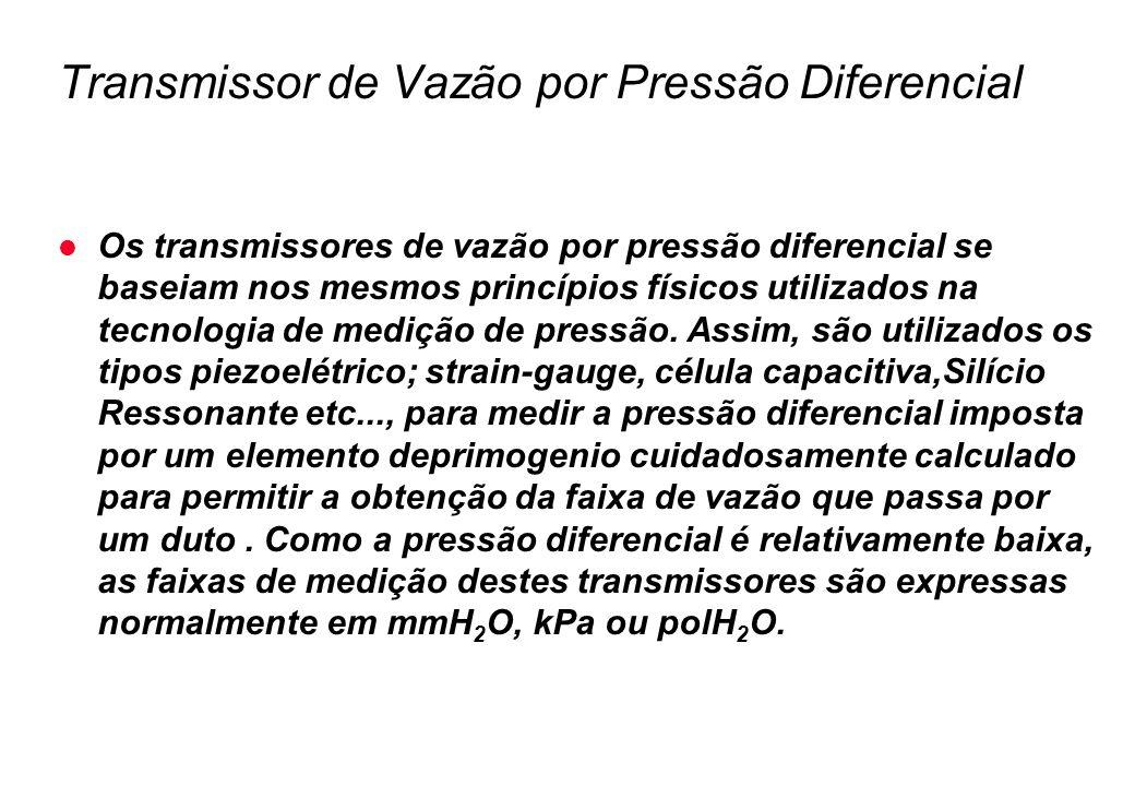 Transmissor de Vazão por Pressão Diferencial l Os transmissores de vazão por pressão diferencial se baseiam nos mesmos princípios físicos utilizados n