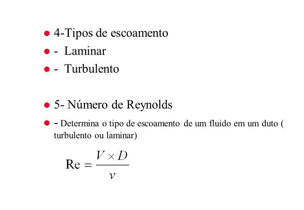 l 4-Tipos de escoamento l - Laminar l - Turbulento l 5- Número de Reynolds - Determina o tipo de escoamento de um fluido em um duto ( turbulento ou la