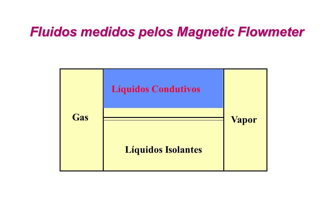 Gas Vapor Líquidos Isolantes Líquidos Condutivos Fluidos medidos pelos Magnetic Flowmeter Fluidos medidos pelos Magnetic Flowmeter