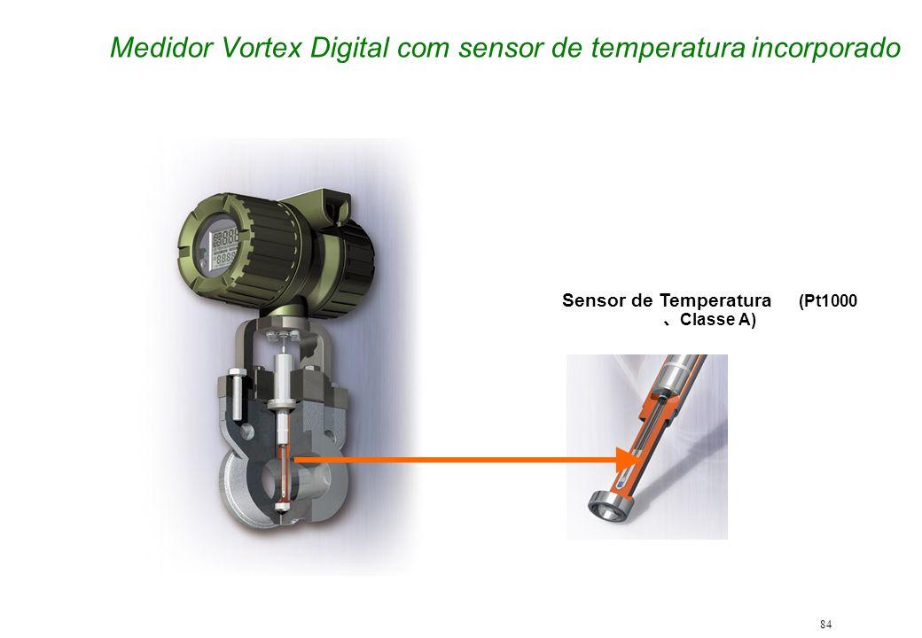 84 Medidor Vortex Digital com sensor de temperatura incorporado Sensor de Temperatura (Pt1000 Classe A)