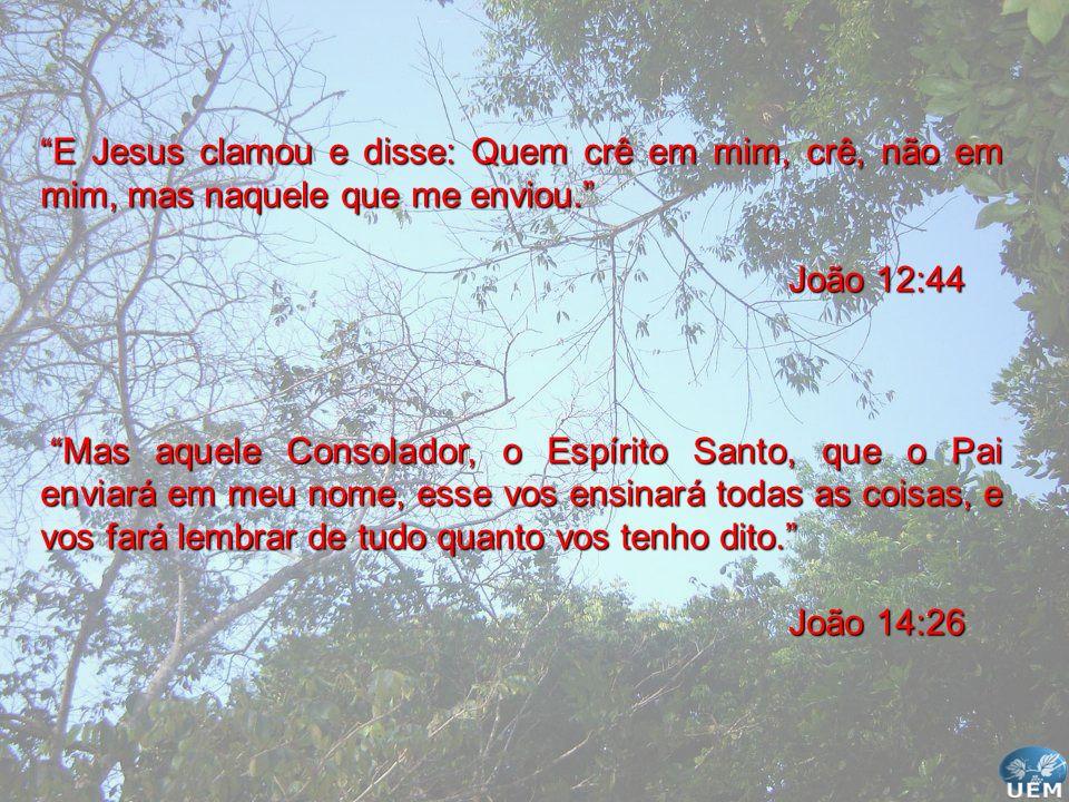 E Jesus clamou e disse: Quem crê em mim, crê, não em mim, mas naquele que me enviou. João 12:44 Mas aquele Consolador, o Espírito Santo, que o Pai env
