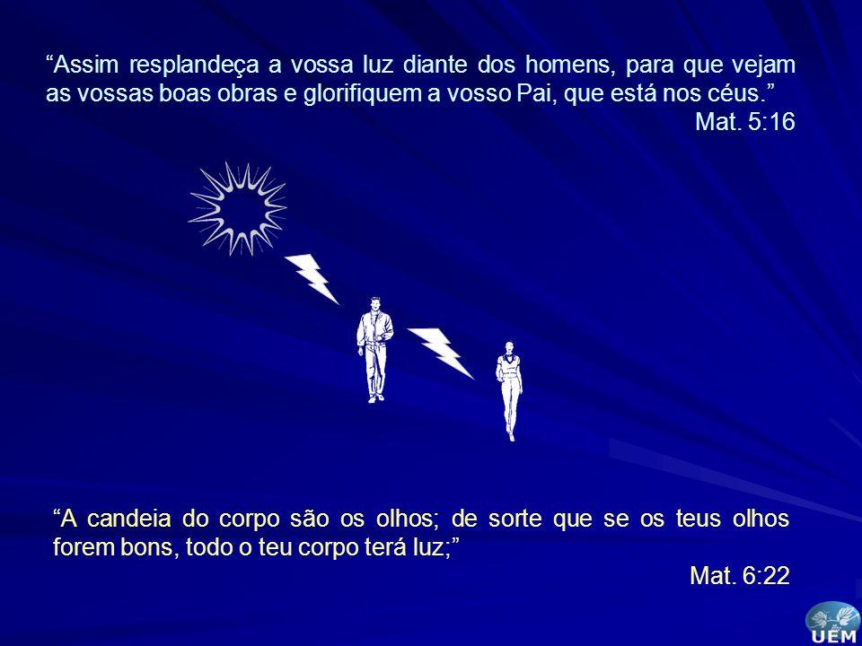 Assim resplandeça a vossa luz diante dos homens, para que vejam as vossas boas obras e glorifiquem a vosso Pai, que está nos céus. Mat. 5:16 A candeia