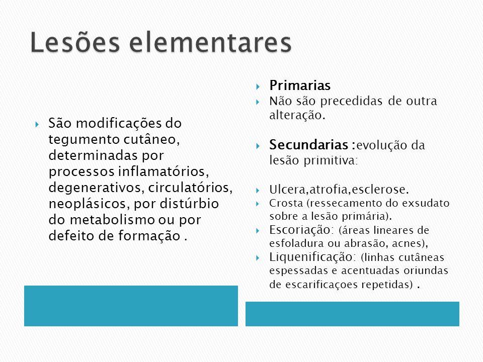 São modificações do tegumento cutâneo, determinadas por processos inflamatórios, degenerativos, circulatórios, neoplásicos, por distúrbio do metabolis