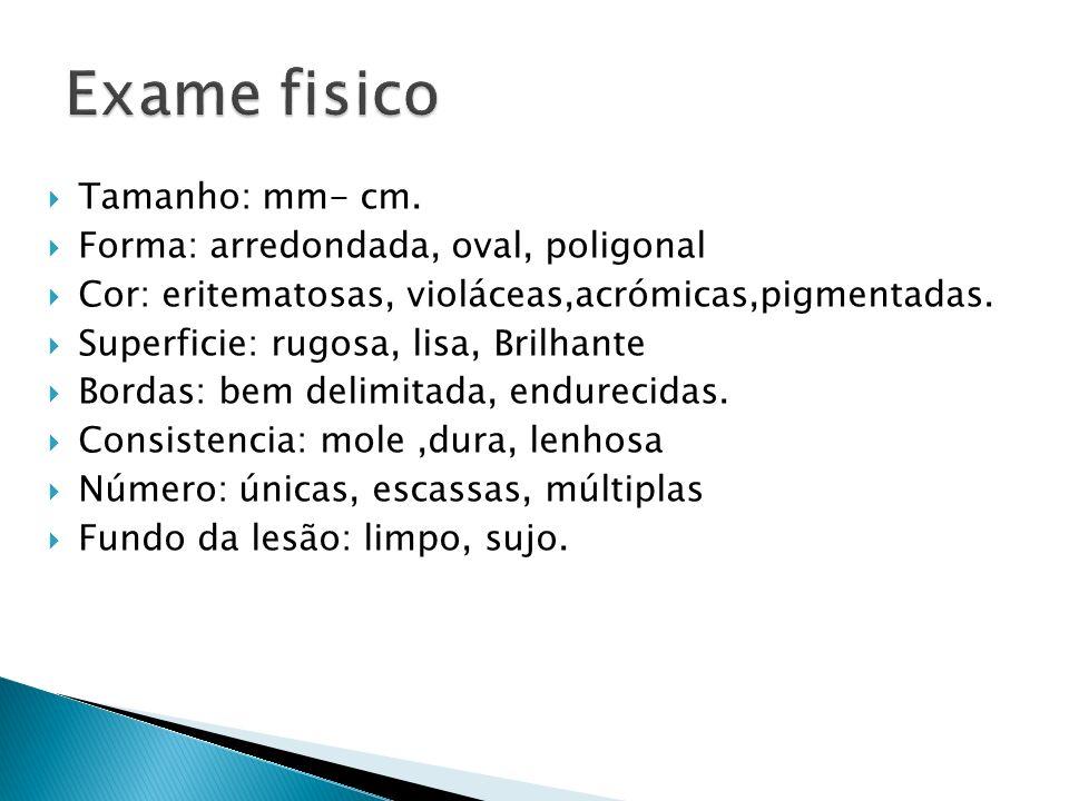 Tamanho: mm- cm. Forma: arredondada, oval, poligonal Cor: eritematosas, violáceas,acrómicas,pigmentadas. Superficie: rugosa, lisa, Brilhante Bordas: b
