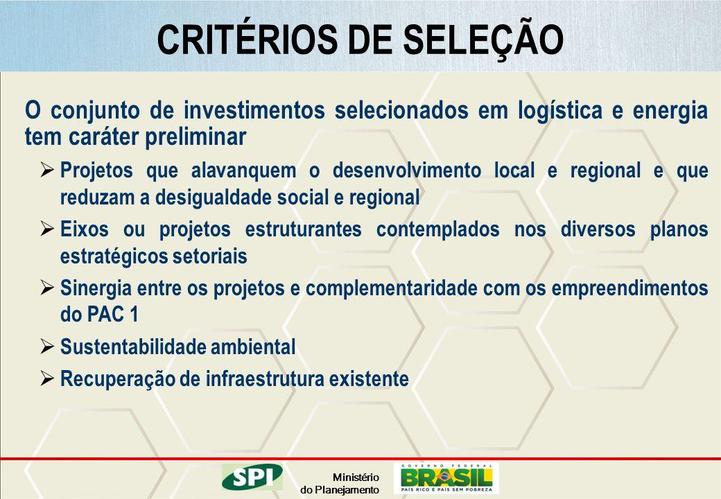 Ministério do Planejamento O conjunto de investimentos selecionados em logística e energia tem caráter preliminar Projetos que alavanquem o desenvolvi