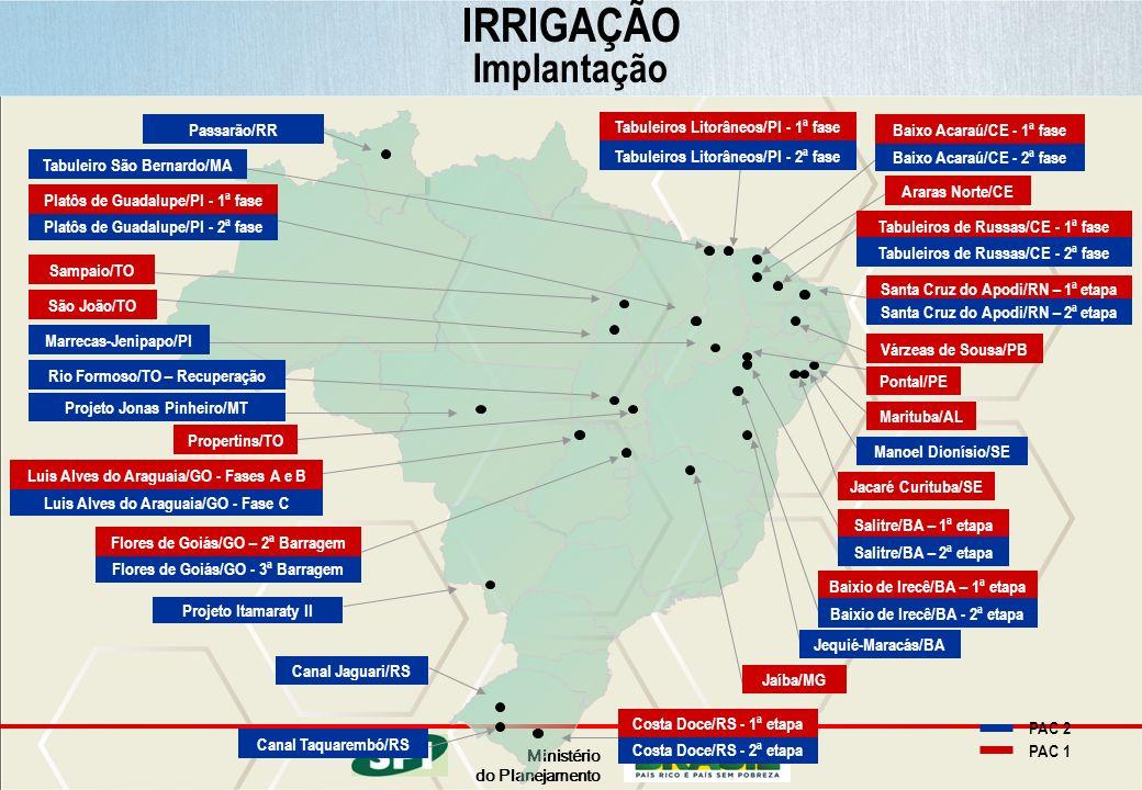 Ministério do Planejamento IRRIGAÇÃO Implantação PAC 2 PAC 1 Canal Jaguari/RS Canal Taquarembó/RS Costa Doce/RS - 2ª etapa Passarão/RR Platôs de Guada