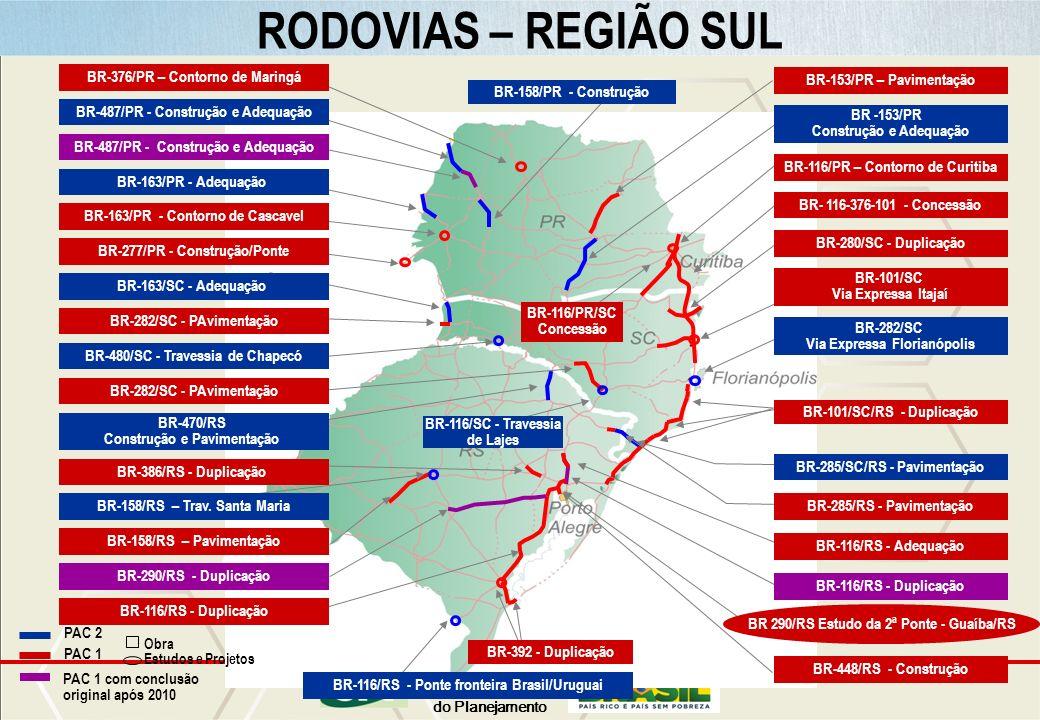 Ministério do Planejamento RODOVIAS – REGIÃO SUL PAC 2 PAC 1 BR-116/RS - Ponte fronteira Brasil/Uruguai BR-282/SC - PAvimentação PAC 1 com conclusão o