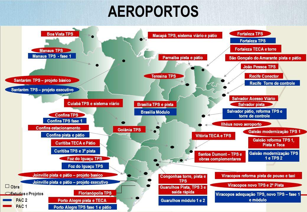 Ministério do Planejamento AEROPORTOS Brasília TPS e pista São Gonçalo do Amarante pista e pátio Boa Vista TPS Recife Conector Parnaíba pista e pátio