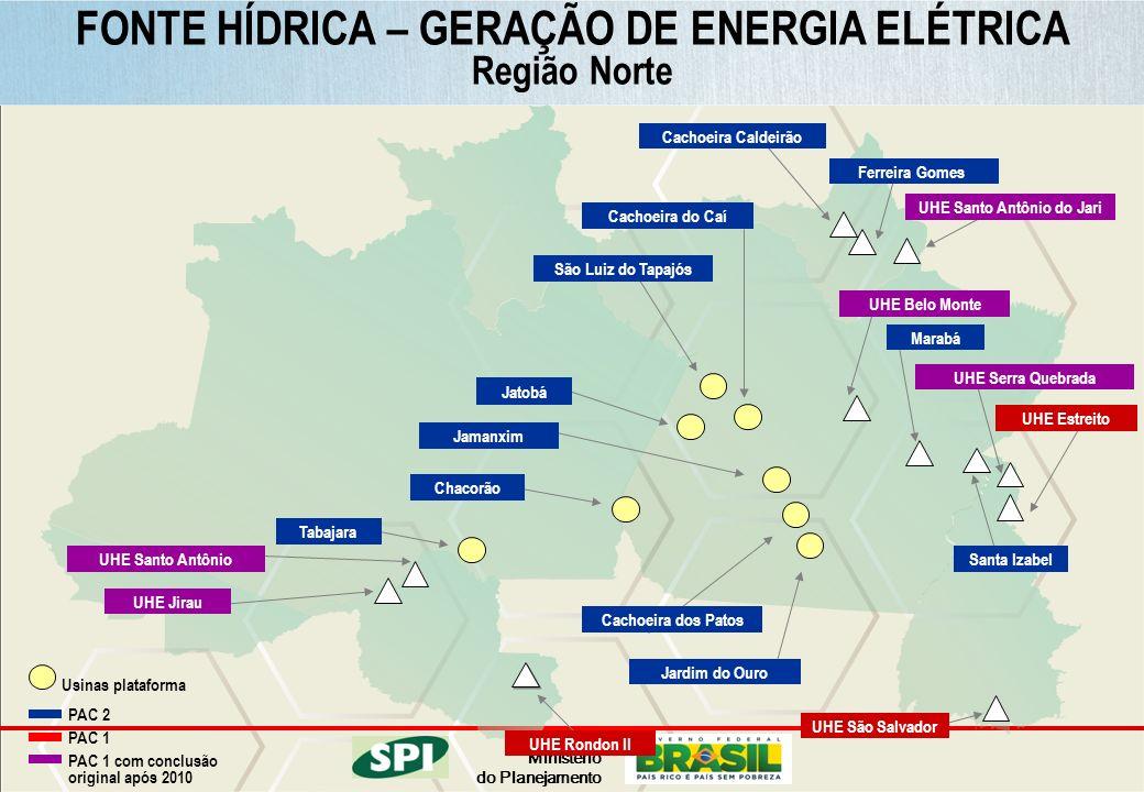 Ministério do Planejamento FONTE HÍDRICA – GERAÇÃO DE ENERGIA ELÉTRICA Região Norte UHE Santo Antônio UHE Jirau UHE São Salvador UHE Rondon II UHE Ser