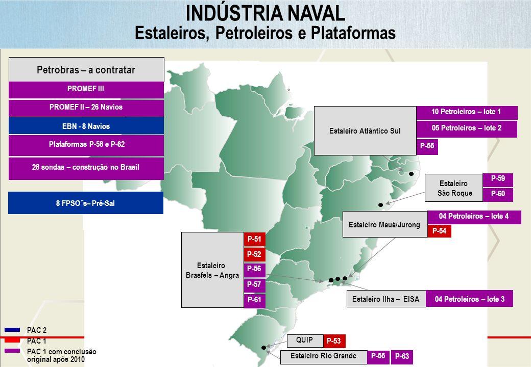 Ministério do Planejamento INDÚSTRIA NAVAL Estaleiros, Petroleiros e Plataformas 10 Petroleiros – lote 1 P-53 P-59 P-60 Estaleiro Rio Grande P-55 Esta