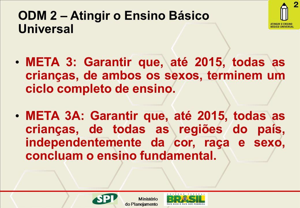 Ministério do Planejamento ODM 2 – Atingir o Ensino Básico Universal META 3: Garantir que, até 2015, todas as crianças, de ambos os sexos, terminem um