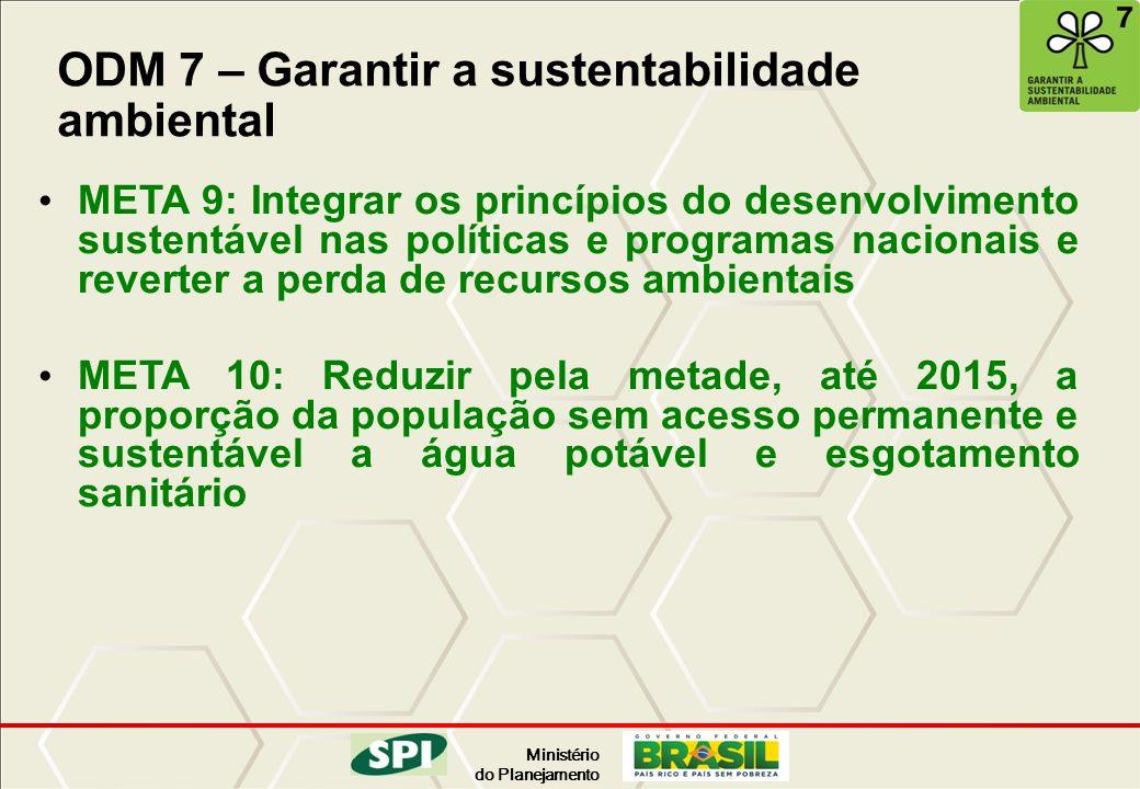 Ministério do Planejamento ODM 7 – Garantir a sustentabilidade ambiental META 9: Integrar os princípios do desenvolvimento sustentável nas políticas e