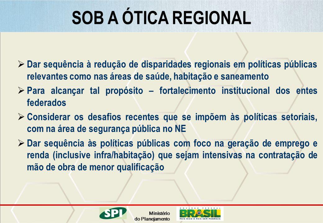 Ministério do Planejamento Dar sequência à redução de disparidades regionais em políticas públicas relevantes como nas áreas de saúde, habitação e san