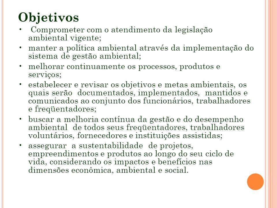 Objetivos Comprometer com o atendimento da legislação ambiental vigente; manter a política ambiental através da implementação do sistema de gestão amb