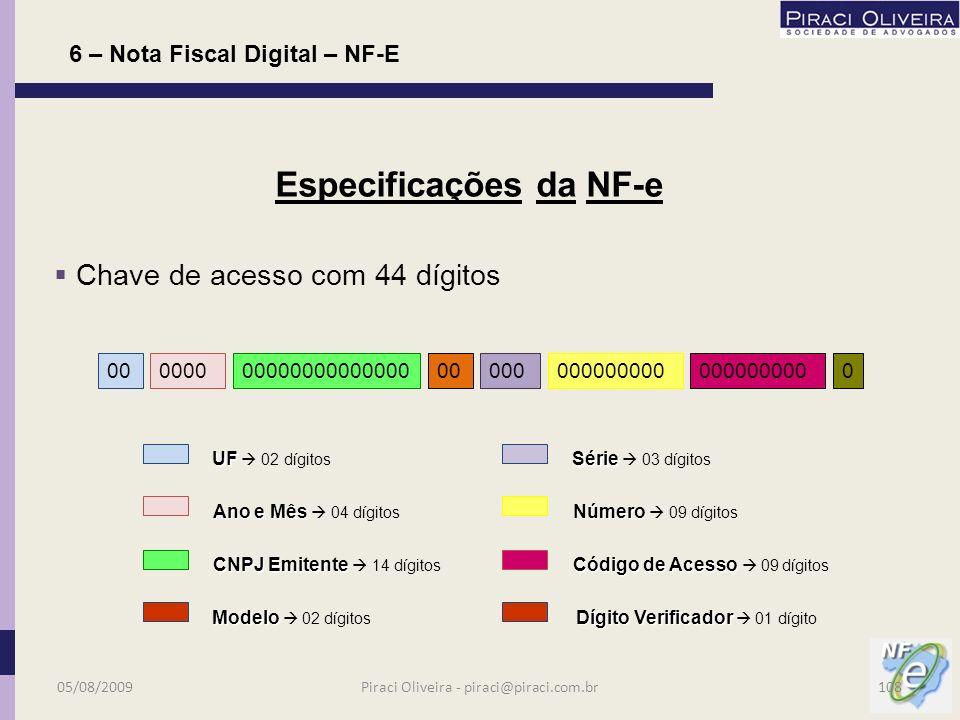 Após análise: a)pode haver autorização da NF-e; a)denegação – irregularidade cadastral; a)rejeição por: -falha no processamento; -não credenciamento; -falha no leiaute; -outras; 6 – Nota Fiscal Digital – NF-E Procedimentos para Emissão 05/08/2009107Piraci Oliveira - piraci@piraci.com.br
