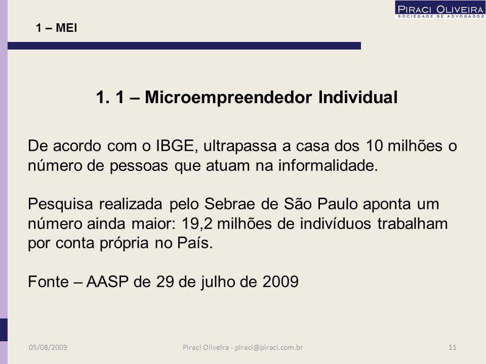 1 - MEI Microempreendedor Individual Nova ferramenta 05/08/200910Piraci Oliveira - piraci@piraci.com.br