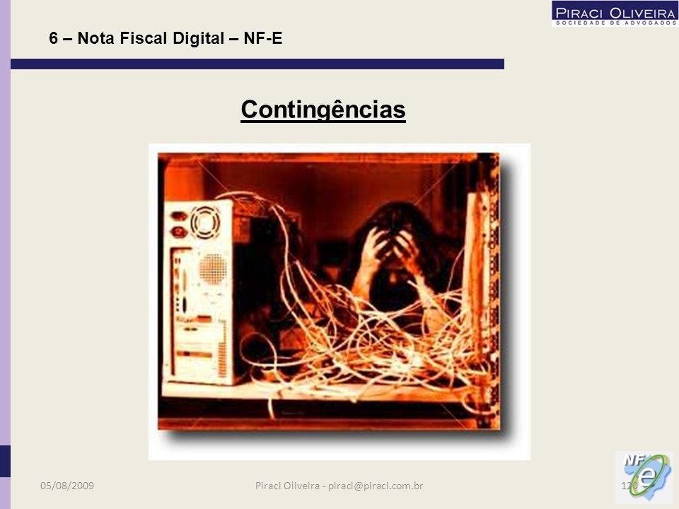 Poderá registrar a NF-e digitalmente (se for obrigado à emissão) ou utilizar o DANFE para suportar o lançamento; Nota – O destinatário não poderá receber nota física (papel) nas situações em que for obrigada emissão digital, exceção feita ao DANFE (validado); Esta operação será equiparada à nota fiscal inidônea (fria); 6 – Nota Fiscal Digital – NF-E Obrigações do Destinatário 05/08/2009119Piraci Oliveira - piraci@piraci.com.br