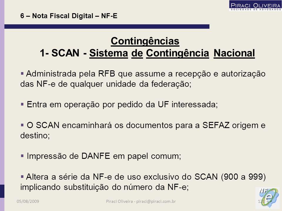 6 – Nota Fiscal Digital – NF-E Contingências 05/08/2009120Piraci Oliveira - piraci@piraci.com.br