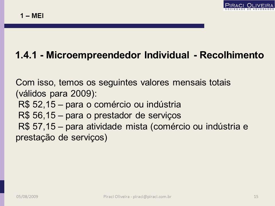valores fixos - : R$ 51,15 (11% do salário mínimo) destinados ao INSS do segurado empresário (contribuinte individual) R$ 1,00 de ICMS R$ 5,00 de ISS