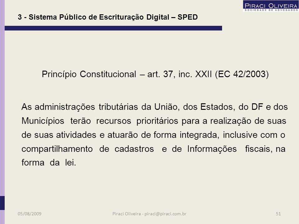 SPED Sistema Público de Escrituração Digital 05/08/200950Piraci Oliveira - piraci@piraci.com.br