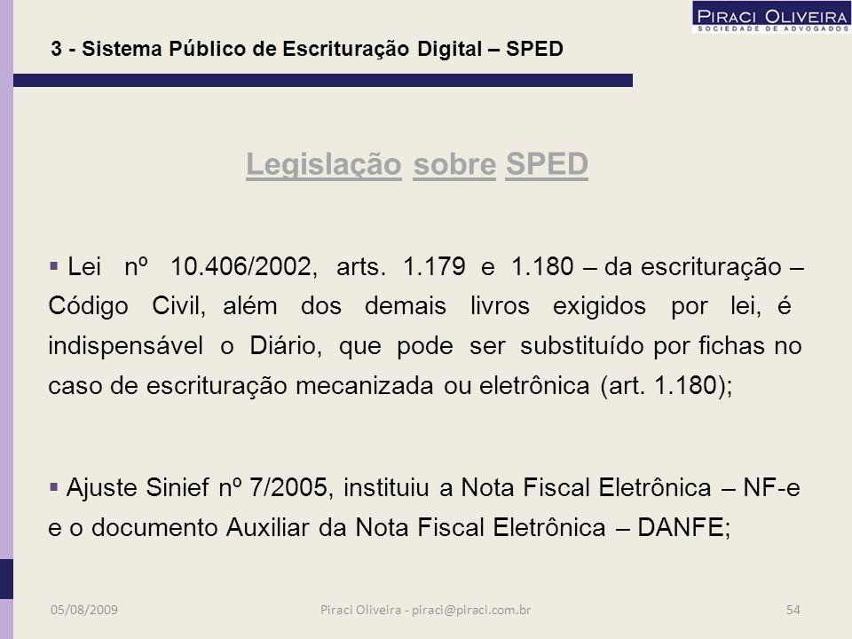 MP nº 2.200-2/2001 – Institui a Infra-Estrutura de Chaves Públicas Brasileiras – ICP–Brasil; ICP-Brasil: Infra-Estrutura de Chaves públicas Brasileiras – é uma organização para garantir a autenticidade, a integridade e a validade jurídica de documentos em forma eletrônica e das aplicações habitadas que utilizem certificados digitais; Legislação sobre SPED 3 - Sistema Público de Escrituração Digital – SPED 05/08/200953Piraci Oliveira - piraci@piraci.com.br