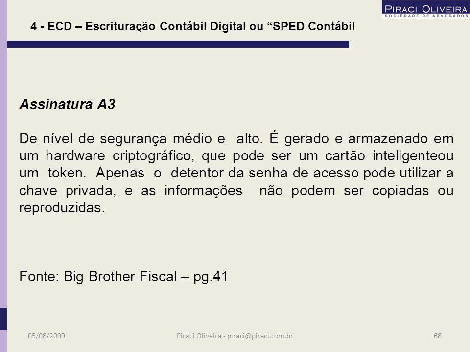 4 - ECD – Escrituração Contábil Digital ou SPED Contábil Quem ainda não tem assinatura digital deve providenciar.
