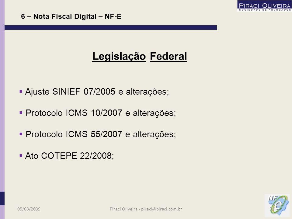 Q No RICMS/SP foram acrescentados os artigos 220-O e 212- Q I; ao livro I; Portaria CAT 104/2007; 6 – Nota Fiscal Digital – NF-E Legislação Estadual 05/08/200990Piraci Oliveira - piraci@piraci.com.br