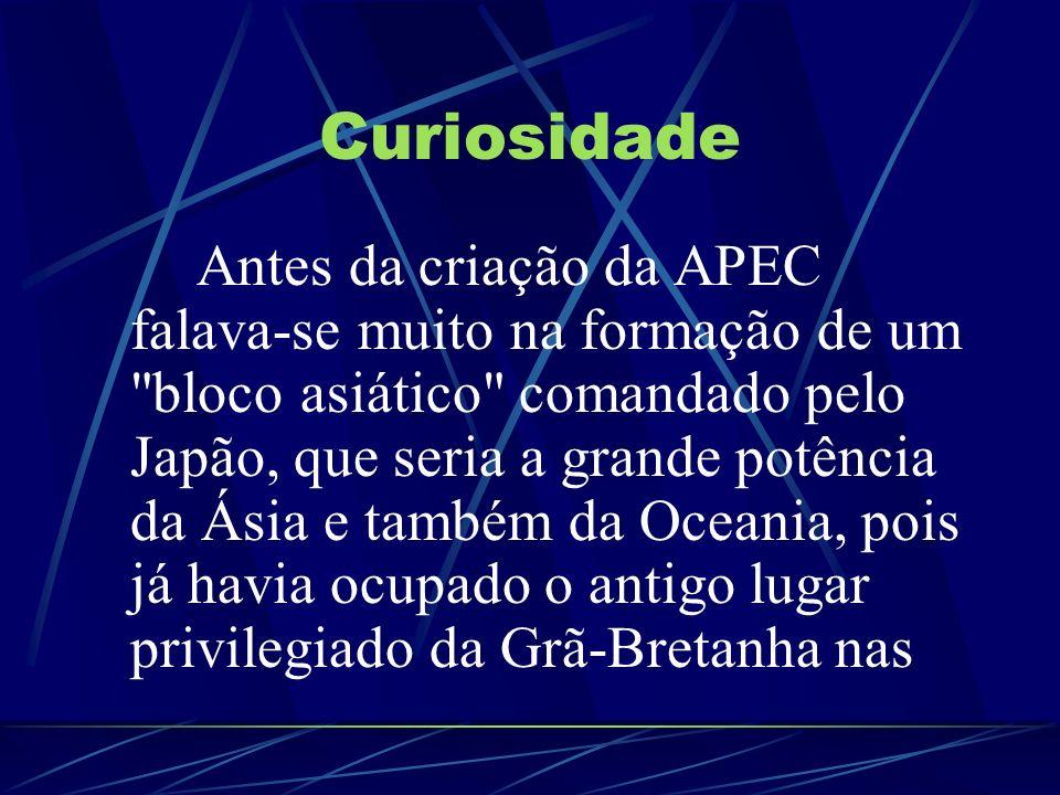 Curiosidade Antes da criação da APEC falava-se muito na formação de um
