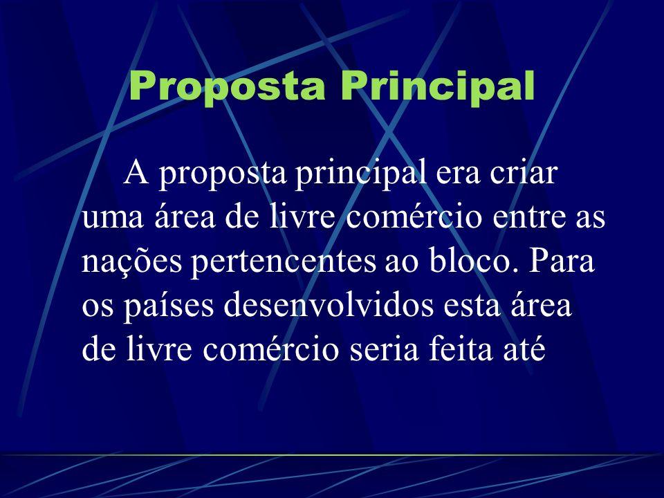 Proposta Principal A proposta principal era criar uma área de livre comércio entre as nações pertencentes ao bloco. Para os países desenvolvidos esta